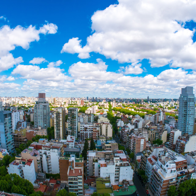 """View of the skyline of Buenos Aires on a sunny day"" stock image"