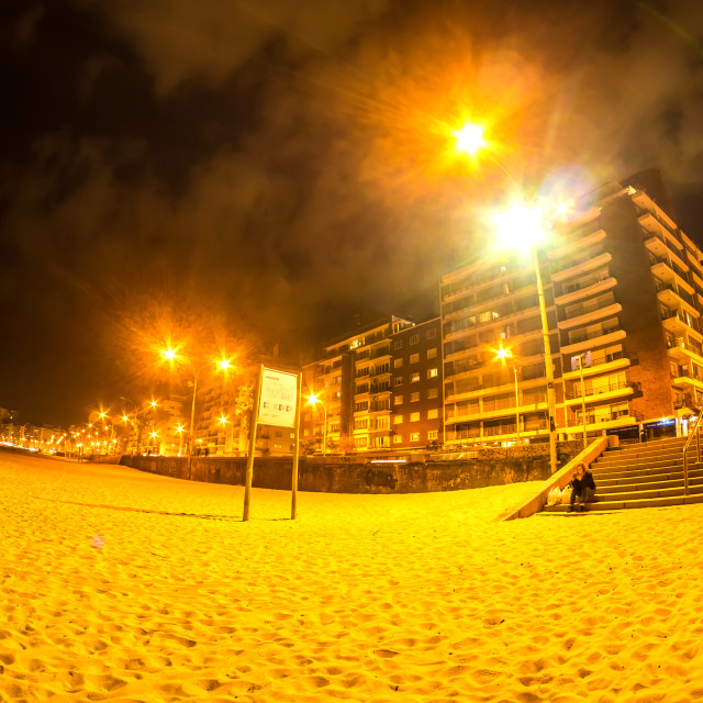 """The beach in Montevideo in Uruguay at night"" stock image"