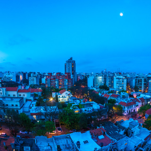 """Panoramic view over Montevideo in Uruguay at night"" stock image"