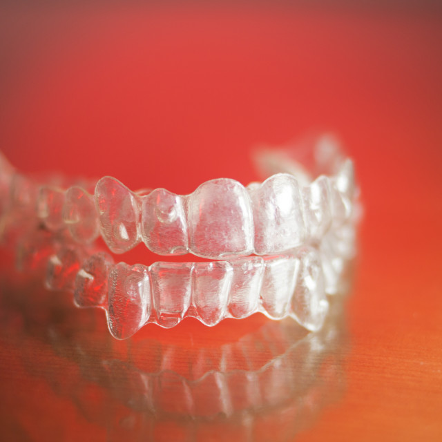 """""""Invisible teeth dental retainer"""" stock image"""