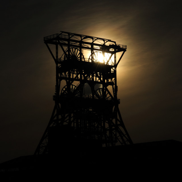 """""""Conveying tower in the (sun) setting"""" stock image"""