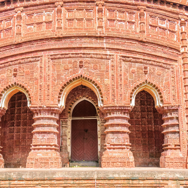 """Ancient Hindu terracotta temples of worship of Bengal with copy space"" stock image"