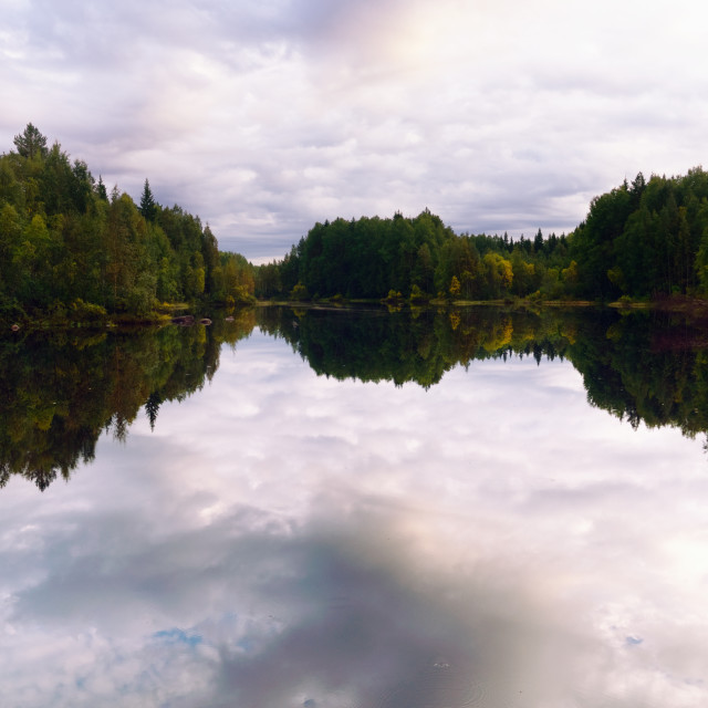 """Northern Forest Reflected in Water"" stock image"