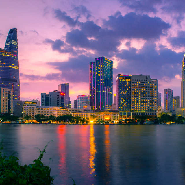 """Saigon (Ho Chi Minh CIty) with an impressive cityscape consisting of several major skyscrapers."" stock image"