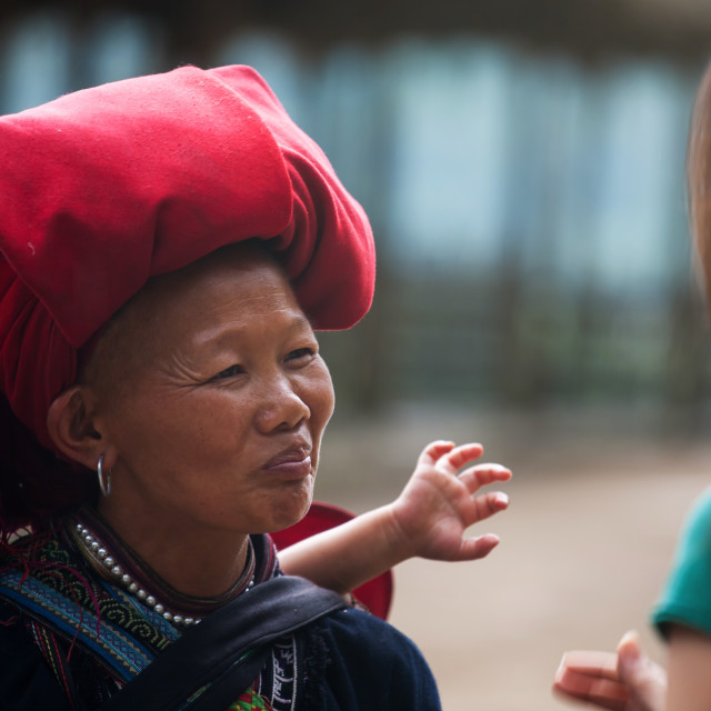 """Red Dao hilltribe woman, Sapa"" stock image"