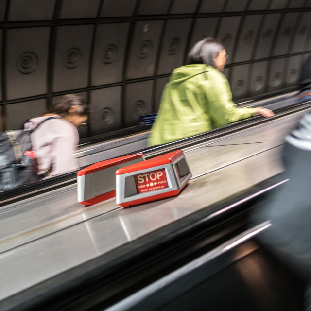 """Underground Escalator"" stock image"