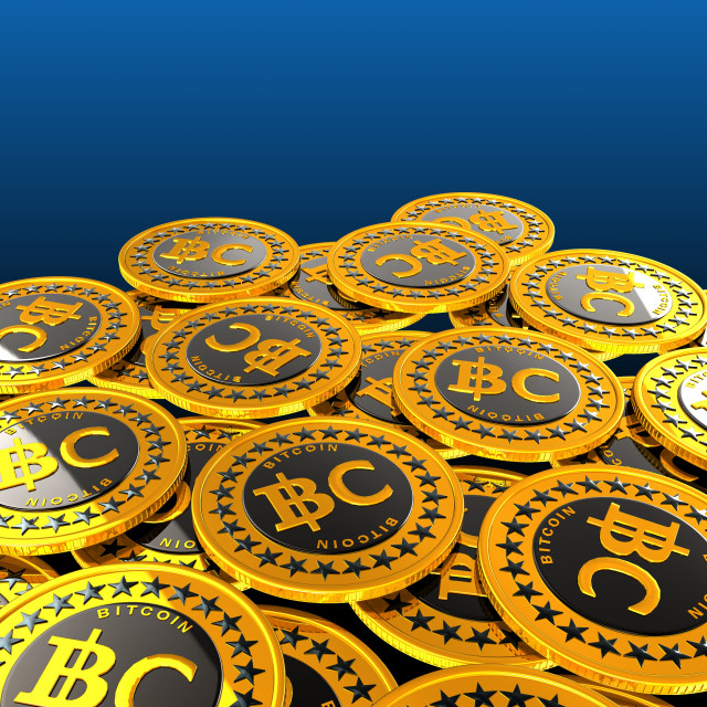 """Bitcoins against blue background"" stock image"