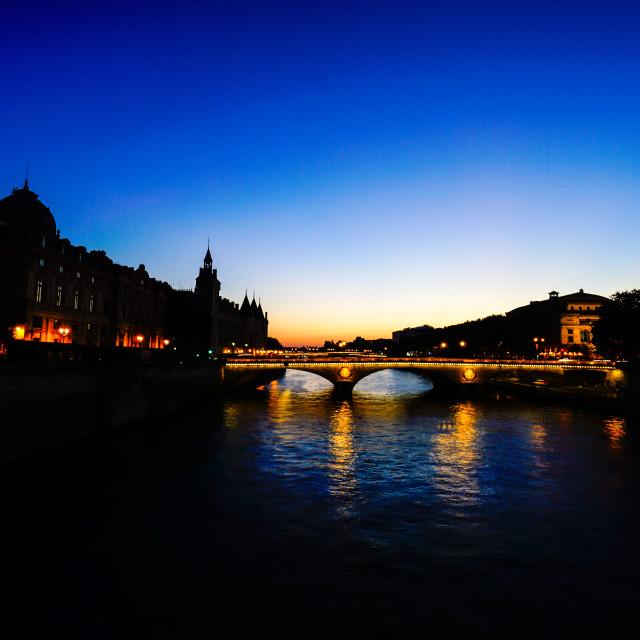 """Seine sunset"" stock image"
