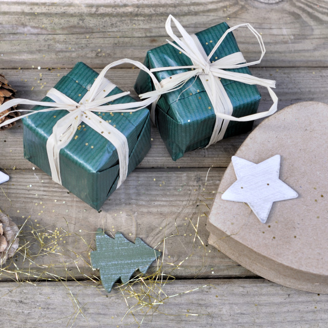 """christmas gift and heart-shaped box"" stock image"