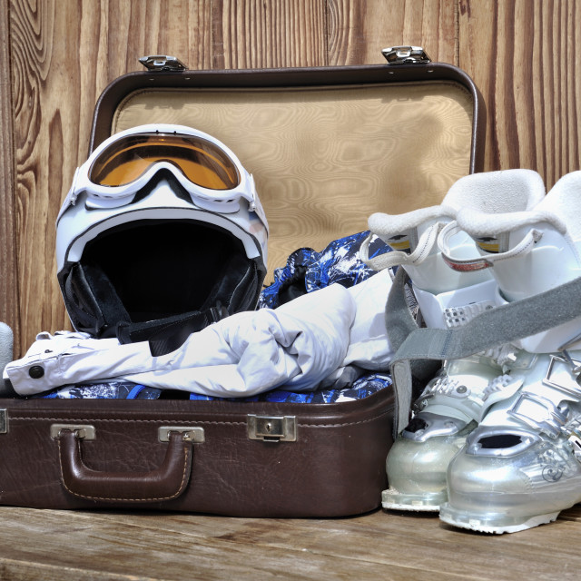 """suitcase for winter sports"" stock image"