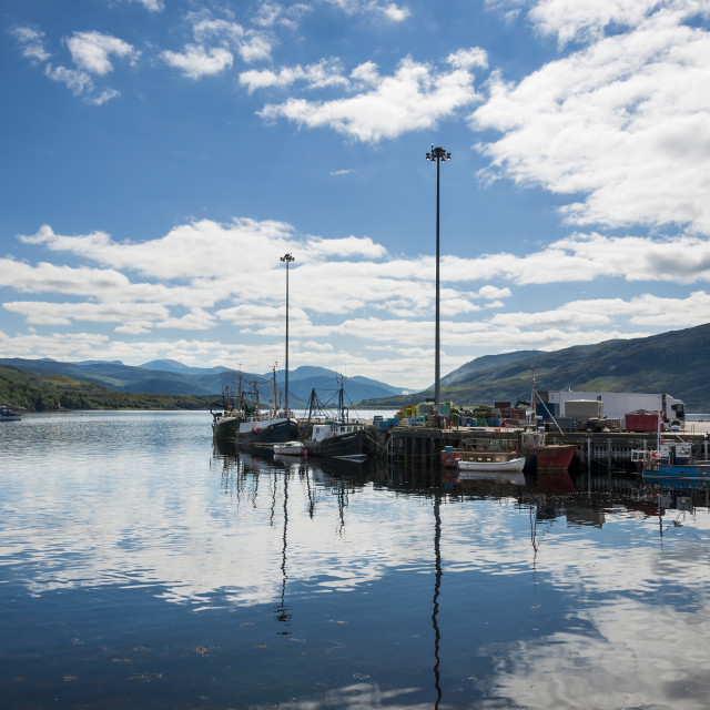 """Ullapool, Scotland - August 15, 2010: Fishing boats in the port of Ullapool in the Highlands in Scotland, United Kingdom"" stock image"