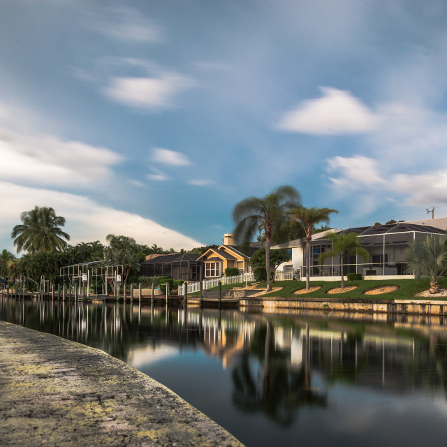 """Cape Coral Canal"" stock image"