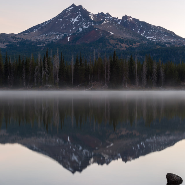 """Broken Top Mountain Reflection"" stock image"