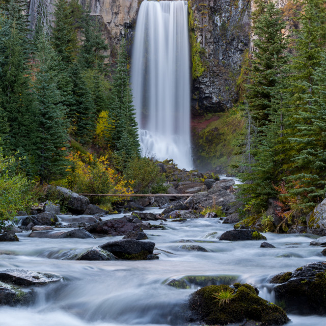 """Tumalo Falls Waterfall in Fall"" stock image"