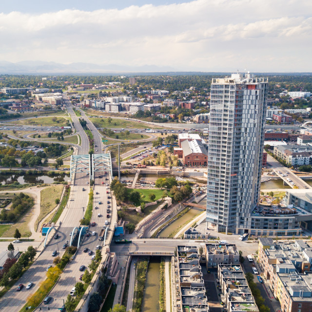 """Aerial view of Arch bridge on Speer boulevard and Denver city"" stock image"