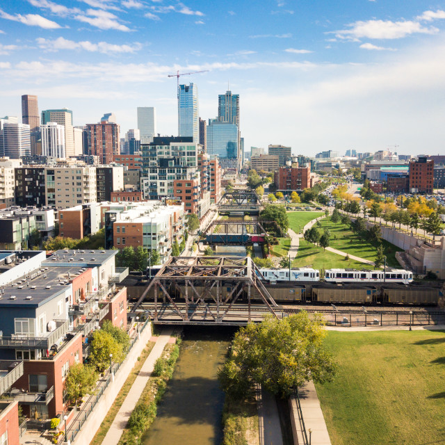 """Denver cityscape aerial view with bridges over cherry creek rive"" stock image"