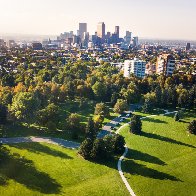 """Denver cityscape aerial view from the city park"" stock image"