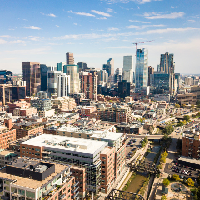 """Denver cityscape aerial view"" stock image"