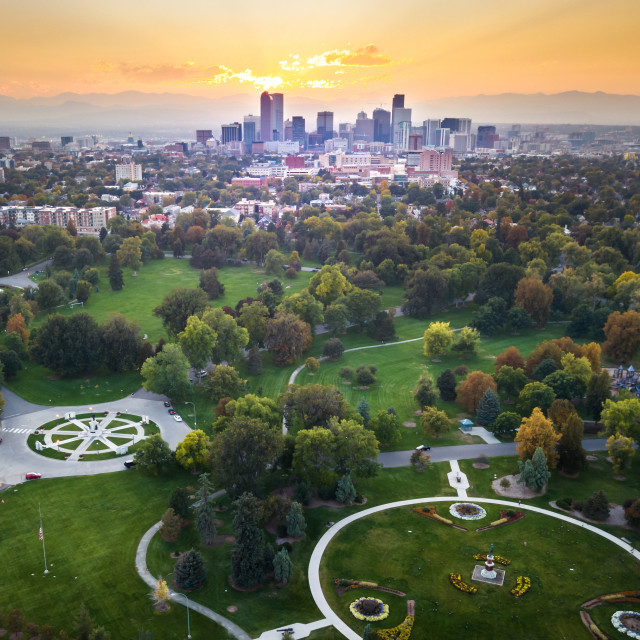 """Sunset over Denver cityscape, aerial view from the park"" stock image"