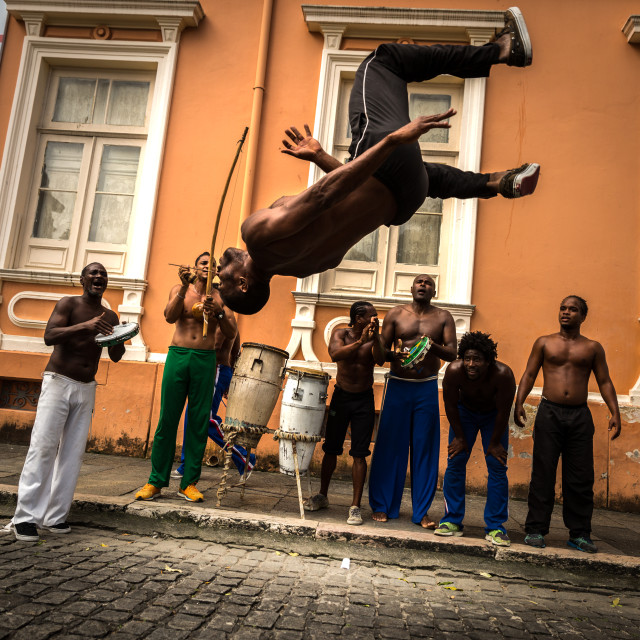 """Group of people laying Capoeira in Salvador, Bahia, Brazil"" stock image"