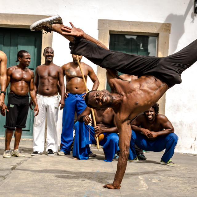 """""""Group of people laying Capoeira in Salvador, Bahia, Brazil"""" stock image"""