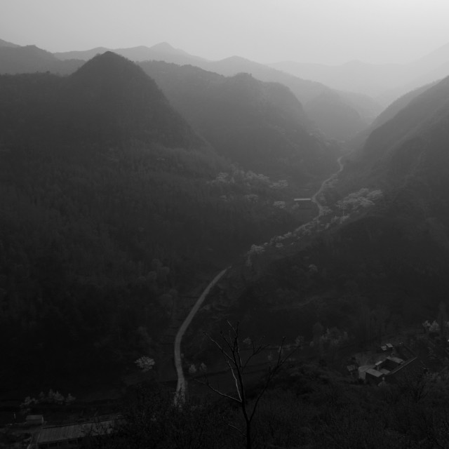 """Misty view of mountain valleys, The Great Wall of China near Qian Ganjian..."" stock image"