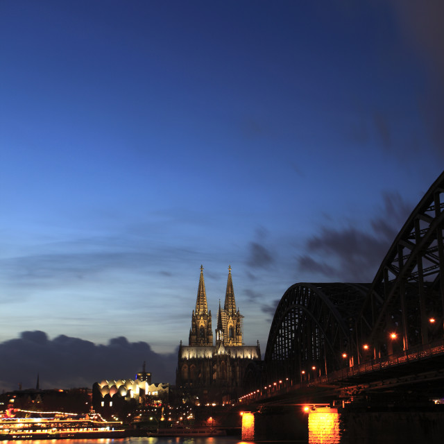 """City view of Cologne at night with Cologne Cathedral, Rhine River, Cologne..."" stock image"
