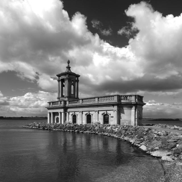 """Summer day, Normanton church, Rutland Water Reservoir; Rutland County;..."" stock image"