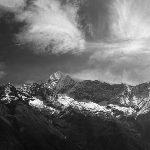 """Snow Capped Thamsherku Mountain, on the Everest base camp trek, UNESCO World..."" stock image"