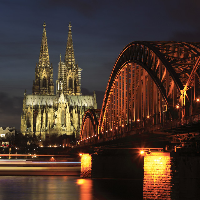 """""""City view of Cologne at night with Cologne Cathedral, Rhine River, Cologne..."""" stock image"""