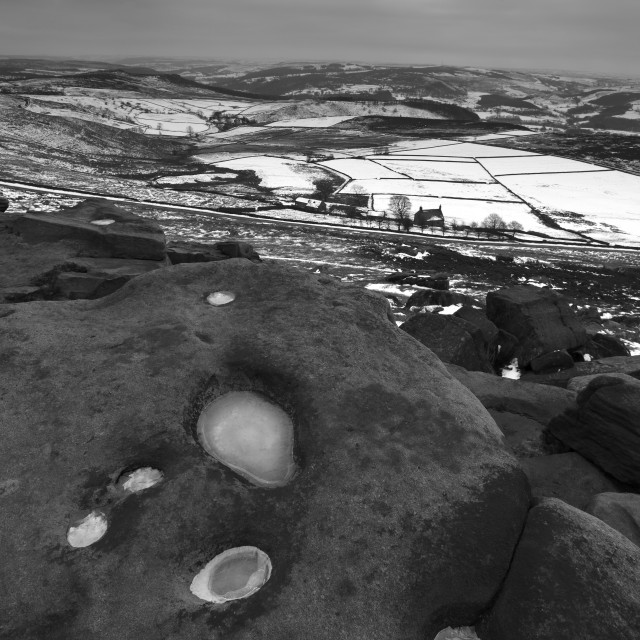 """Wintertime on Stanage Edge, Peak District National Park, Derbyshire, England, UK"" stock image"