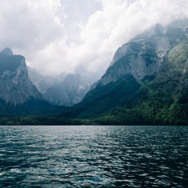 """""""Scenic view of Konigssee in Bavaria a misty day"""" stock image"""