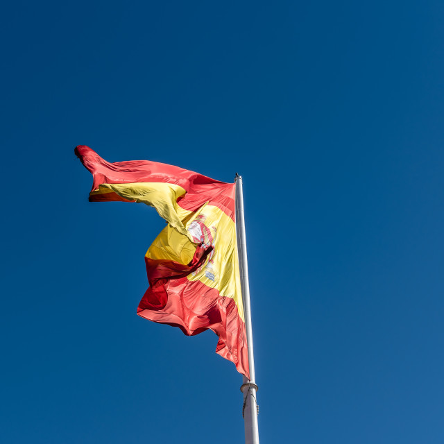 """Spanish flag waving"" stock image"