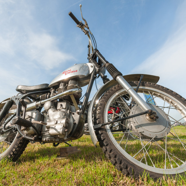 """Vintage Royal Enfield motorcycle"" stock image"