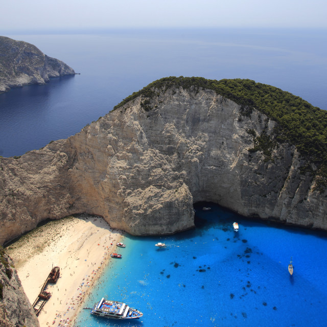 """View of Navagio Beach also known as Shipwreck Cove or Smugglers bay,..."" stock image"