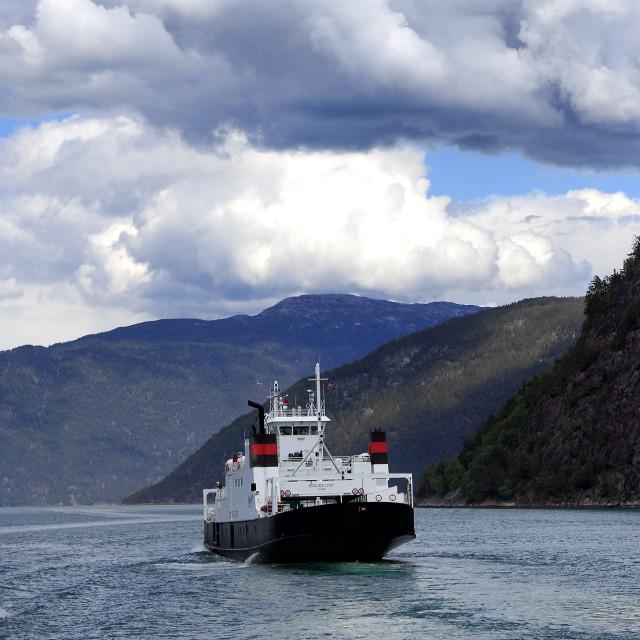 """""""Ferry in mountains surrounding Aurlandsfjorden Fjord, Sogn Og Fjordane region..."""" stock image"""