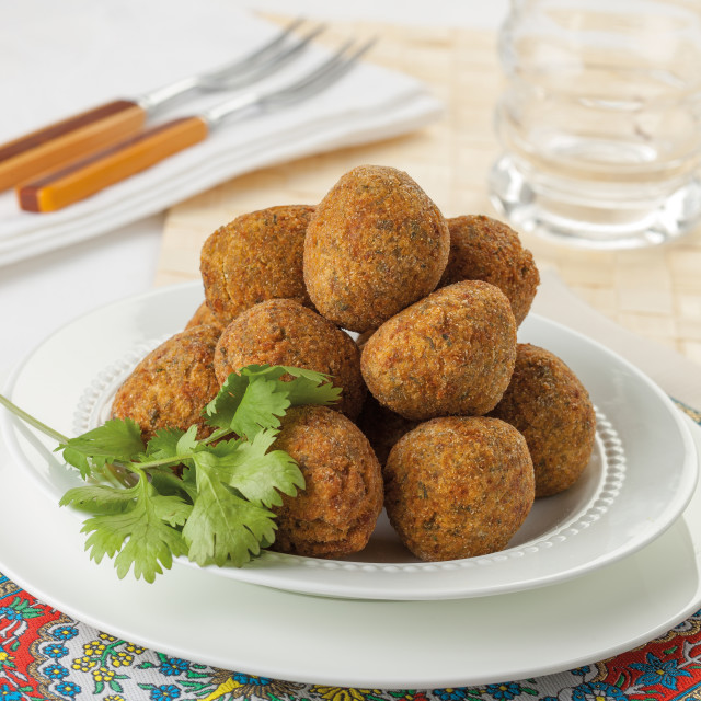"""Falafel balls served on a plate."" stock image"