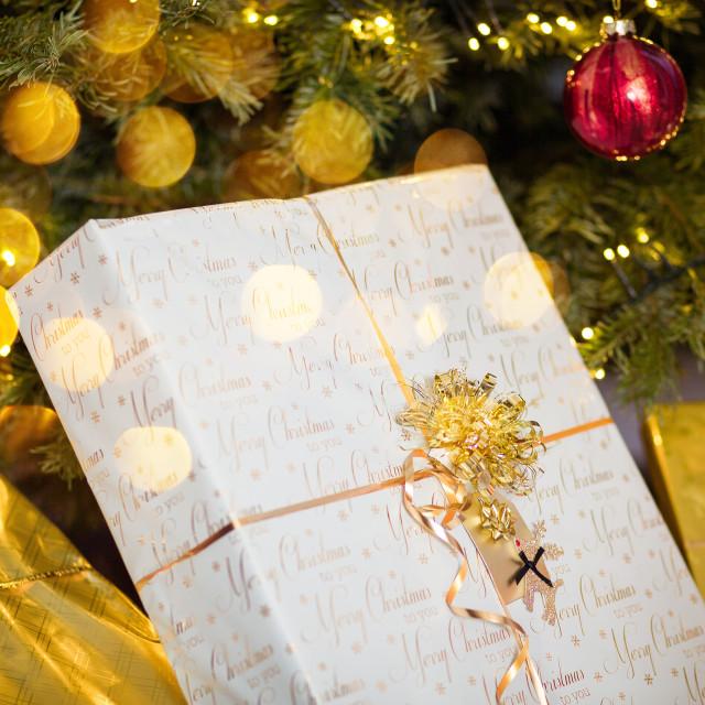"""Wrapped Christmas gift box"" stock image"