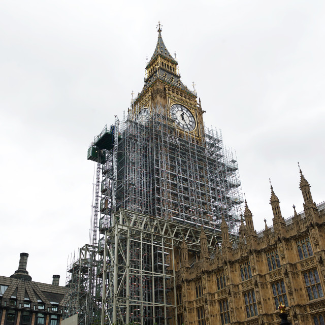 """""""Big Ben / Elizabeth Tower covered with scaffolding #2"""" stock image"""