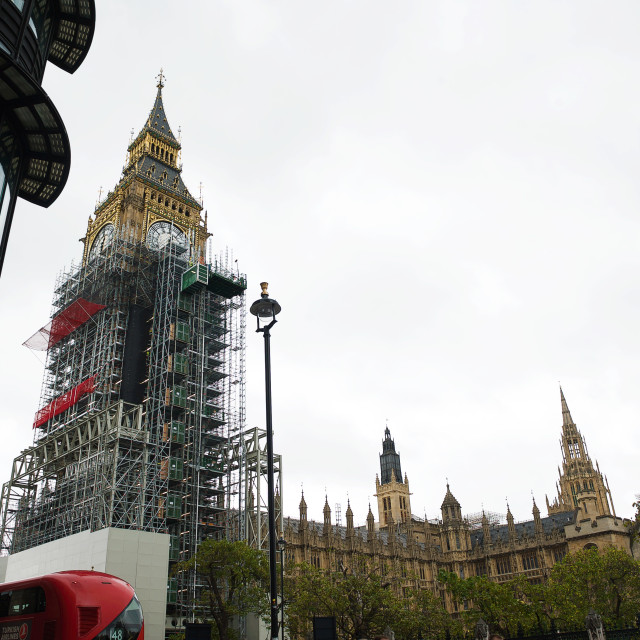 """""""Big Ben / Elizabeth Tower covered with scaffolding #5"""" stock image"""
