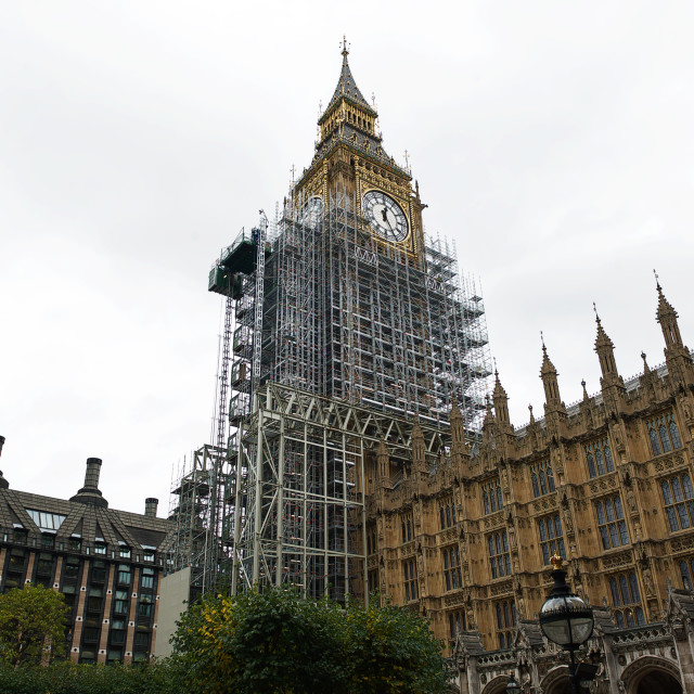 """""""Big Ben / Elizabeth Tower covered with scaffolding #3"""" stock image"""