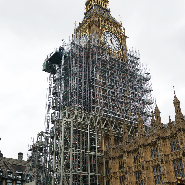 """""""Big Ben / Elizabeth Tower covered with scaffolding #1"""" stock image"""