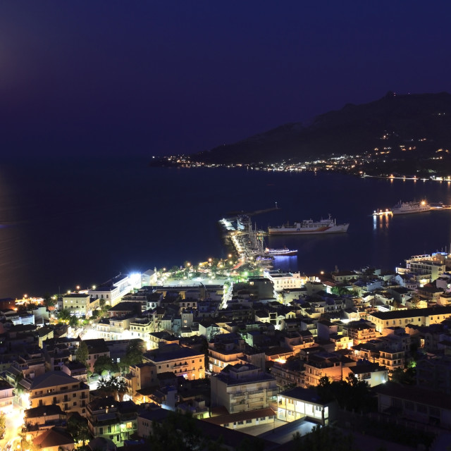 """View over the harbour and Zakynthos town at night, Zakynthos Island, Zante,..."" stock image"