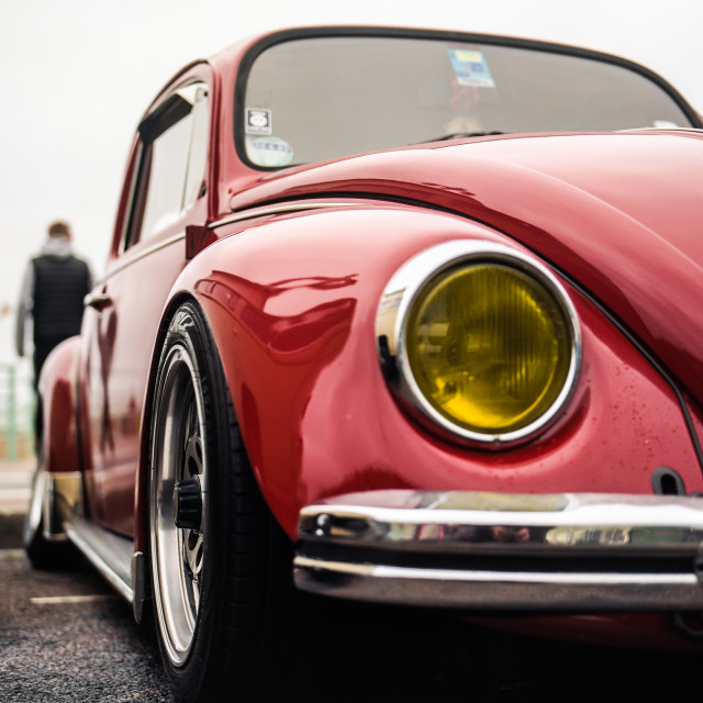 """Red slammed VW beetle"" stock image"