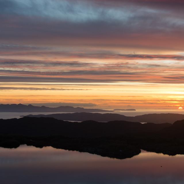"""Sunset on the Hebrides"" stock image"