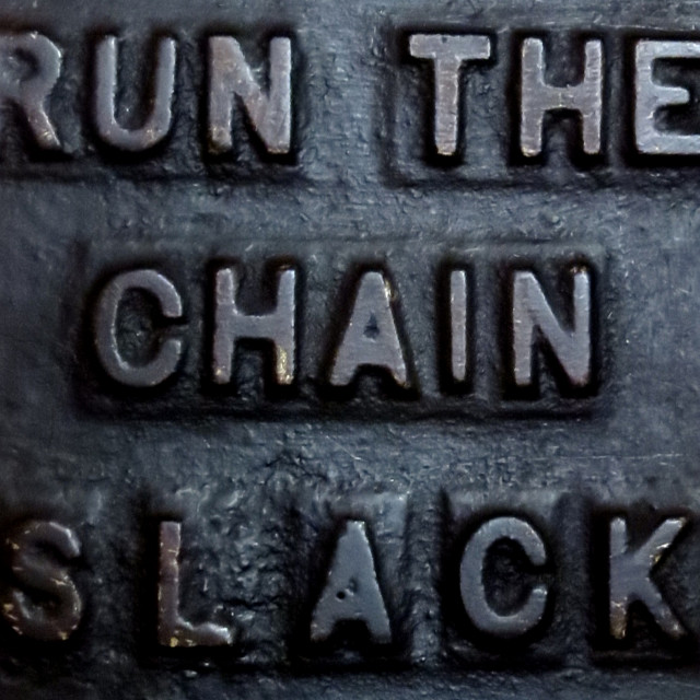 """Run the chain slack"" stock image"