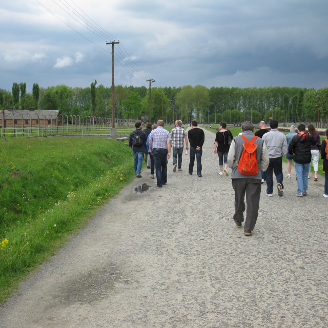 """Tourists at Auschwitz-Birkenau"" stock image"
