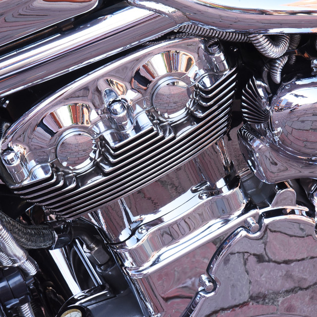 """""""Chrome V Rod Steals the Show in Flint, MI"""" stock image"""