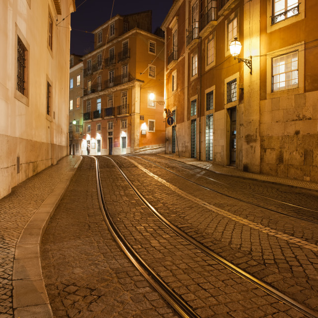 """""""Street at Night in the City of Lisbon"""" stock image"""