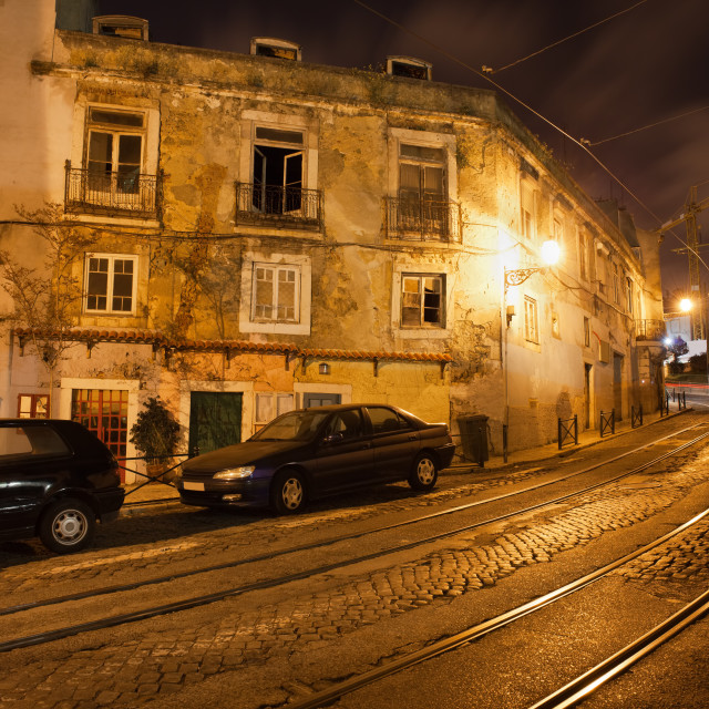 """""""Old City of Lisbon in Portugal at Night"""" stock image"""